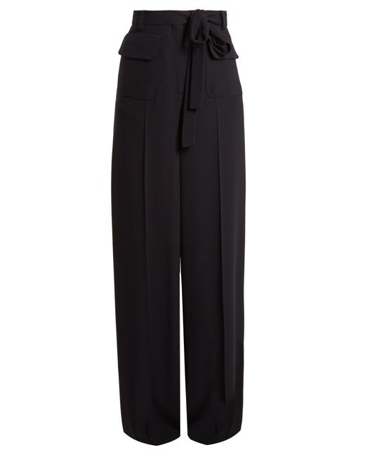 Valentino - Blue Wide-leg Crepe Trousers - Lyst