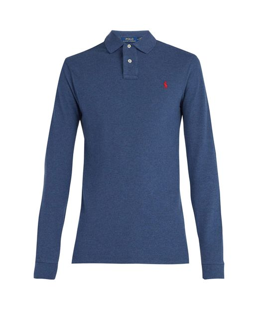 Polo Ralph Lauren - Blue Long Sleeved Cotton Piqué Polo Shirt for Men - Lyst