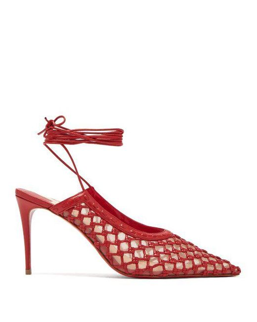 Christian Louboutin - Red X Roland Mouret Cage And Curry Leather Pumps - Lyst