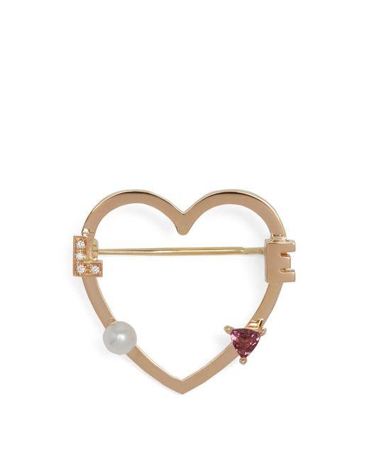 Delfina Delettrez - Metallic Diamond, Rhodolite, Pearl & Pink-gold Brooch - Lyst