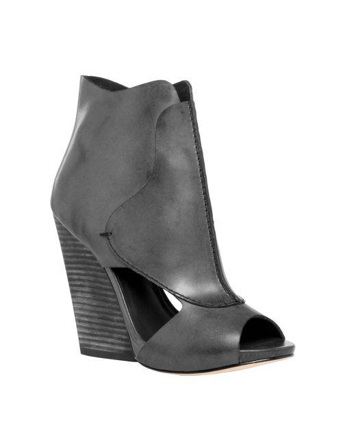 Leon Max - Black Eagle : Waxed Leather High Heel Wedge Peep Toe Booties - Lyst