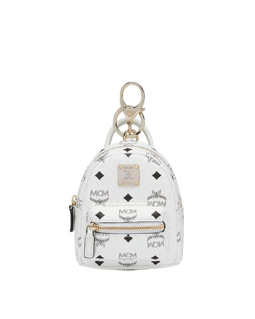 MCM - White Stark Backpack Charm In Side Studded Visetos - Lyst