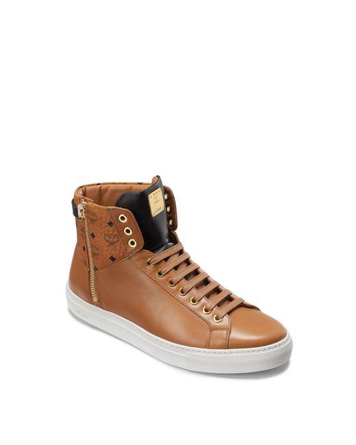 MCM | Brown Women's Visetos Zip High Top Sneakers | Lyst