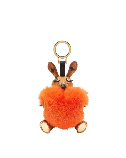 MCM - Orange Rabbit Fur Heart Animal Charm - Lyst