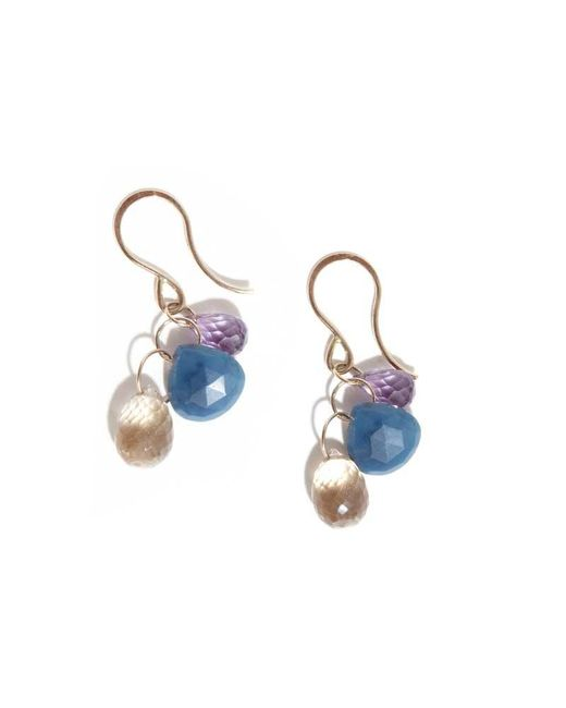Melissa Joy Manning | Rose Amethyst, Blue Opal And Champagne Quartz Three Drop Earrings | Lyst