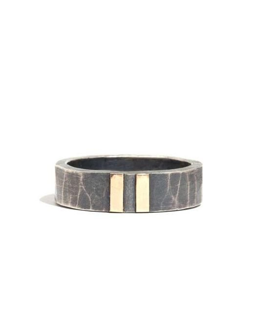 Melissa Joy Manning | Metallic Silver Ring With Dual Gold Stripe | Lyst
