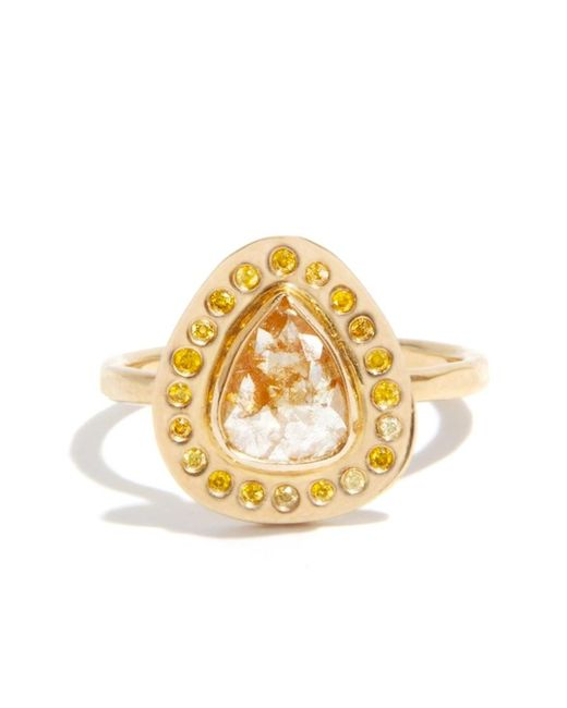 Melissa Joy Manning | Metallic 1 Carat Rutilated Diamond Ring With Yellow Diamond Halo | Lyst