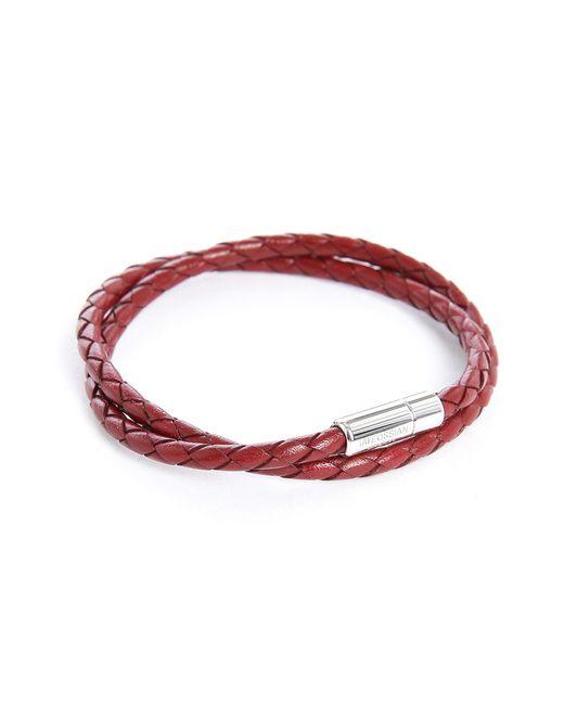 Tateossian | Metallic Silver Pop Red Leather Bracelet for Men | Lyst