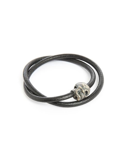 Tateossian | Metallic Berlin Skull Double Silver And Black Leather 36cm Bracelet for Men | Lyst