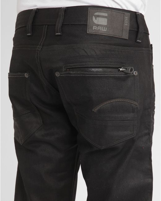 g star raw black attacc coated straight jeans in black for. Black Bedroom Furniture Sets. Home Design Ideas