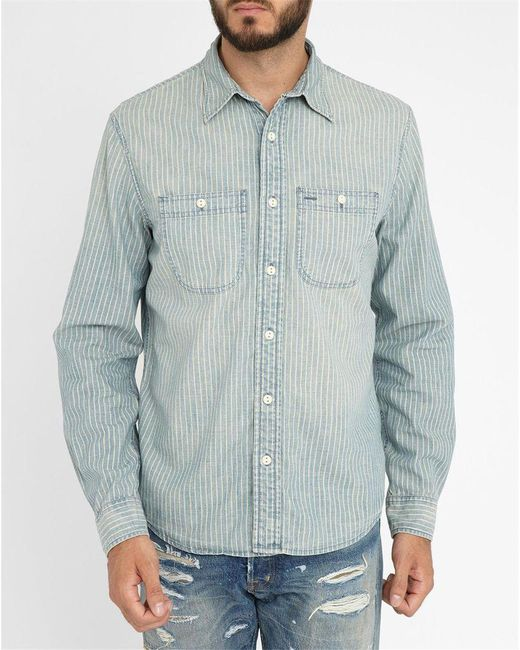 Denim & Supply Ralph Lauren   Blue Chambray Shirt With Striped Pocket for Men   Lyst