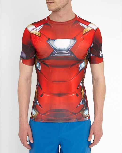 Under armour iron man full suit compression t shirt in red for Under armour brown t shirt