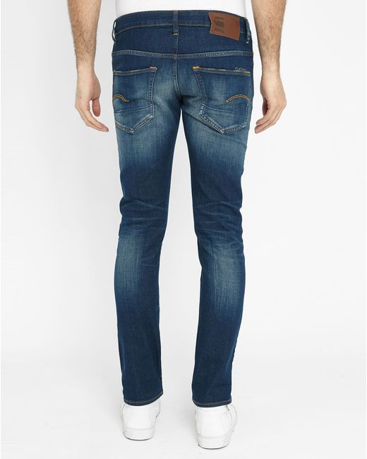 g star raw faded blue 3301 slim fit jeans in blue for men. Black Bedroom Furniture Sets. Home Design Ideas