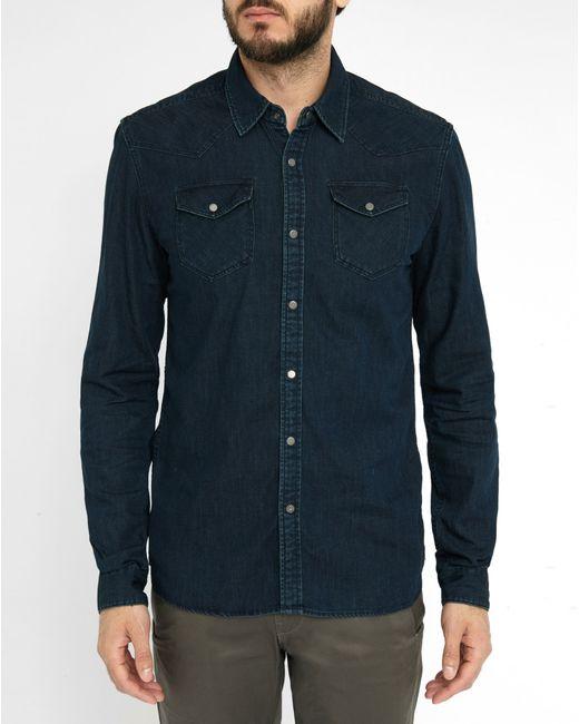 Scotch soda denim western shirt in blue for men save for Dress shirt studs uk