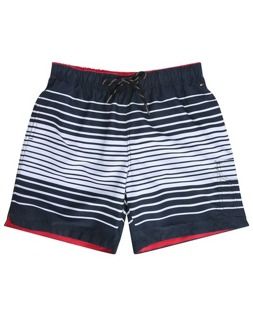 tommy hilfiger blue and white striped swim shorts in blue for men lyst