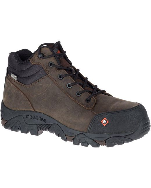 Merrell - Brown Moab Rover Mid Waterproof Comp Toe Work Boot for Men - Lyst