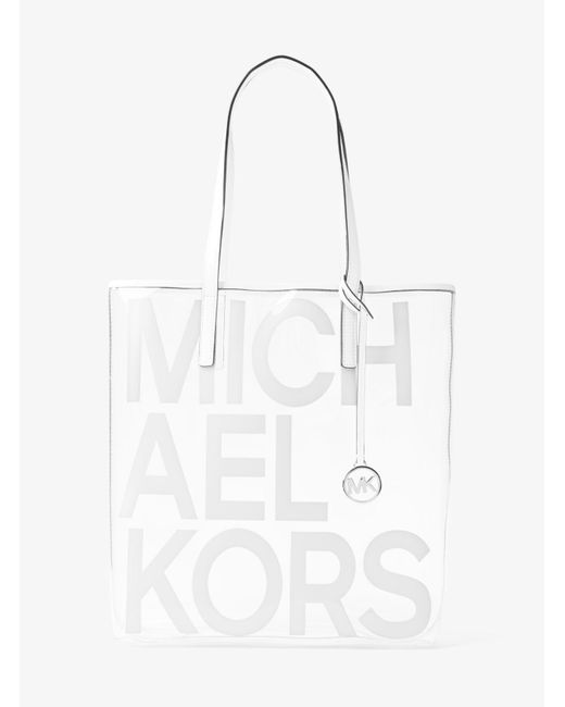 67f33fef9d2dfe Michael Kors - White Michael The Michael Bag Clear North South Tote - Lyst  ...