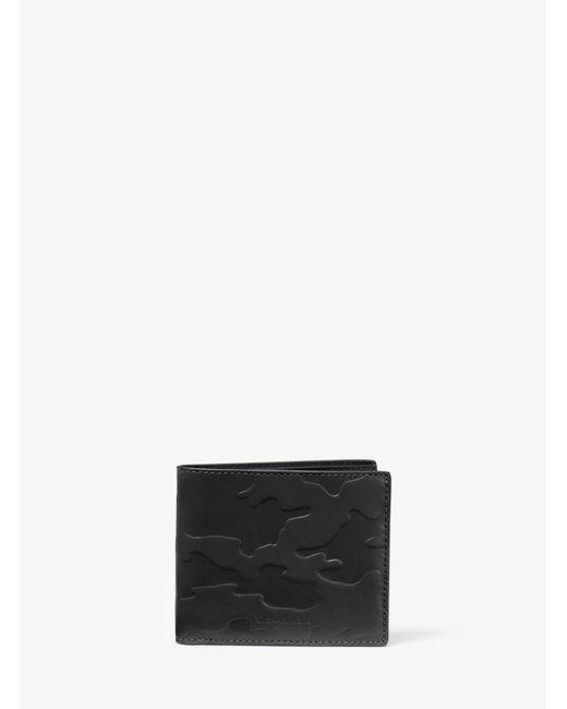 Michael Kors - Black Odin Camouflage Embossed-leather Billfold Wallet for Men - Lyst