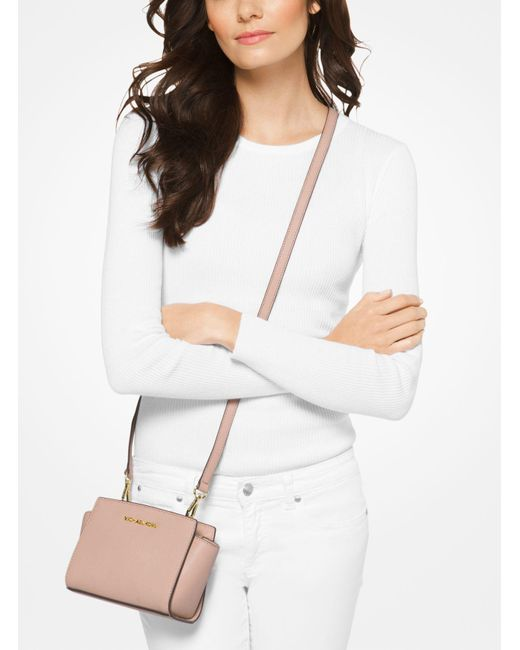 Michael Kors | Pink Selma Mini Saffiano Leather Crossbody | Lyst