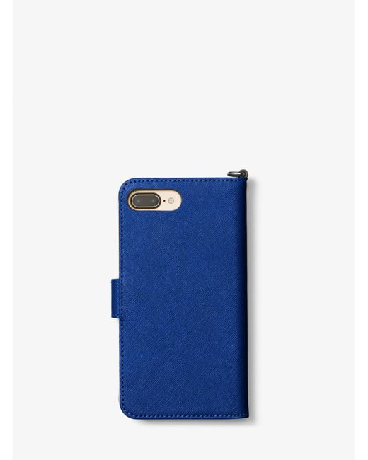 Michael Kors | Blue Saffiano Leather Folio Phone Case For Iphone 7 Plus | Lyst