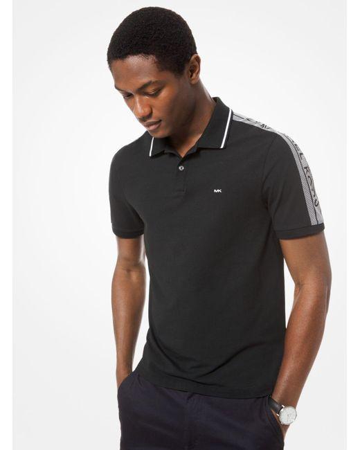 7479e641 Michael Kors - Black Logo-sleeve Stretch-cotton Polo Shirt for Men - Lyst  ...
