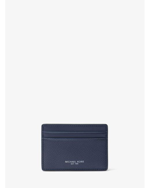 Michael Kors - Blue Harrison Leather Card Case for Men - Lyst