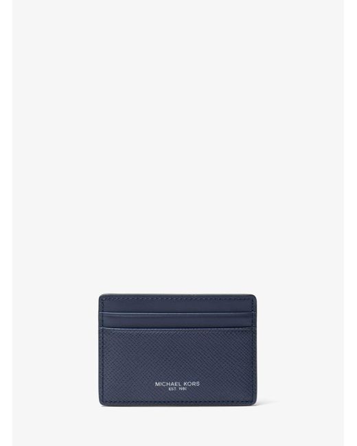 Michael Kors | Blue Harrison Leather Card Case for Men | Lyst