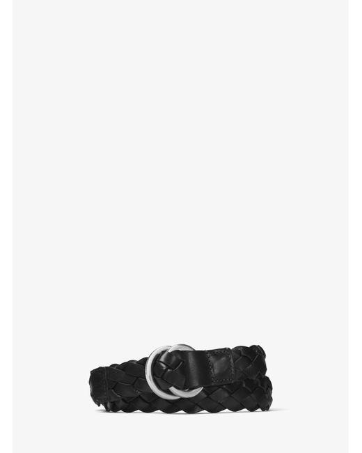 Michael Kors | Black Braided Leather Belt for Men | Lyst