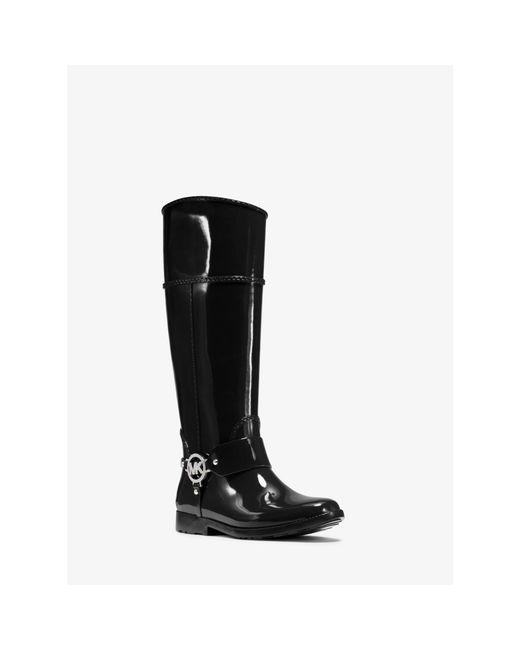 Michael Kors | Black Fulton Logo Rubber Rain Boot | Lyst