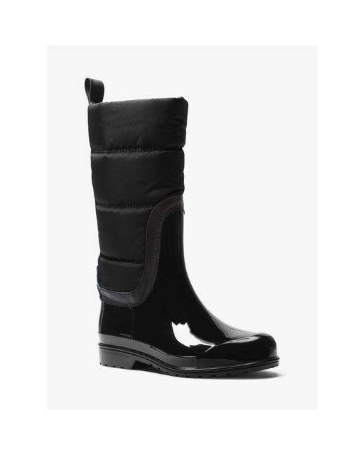 Michael Kors | Black Cabot Quilted-nylon Rain Boot | Lyst