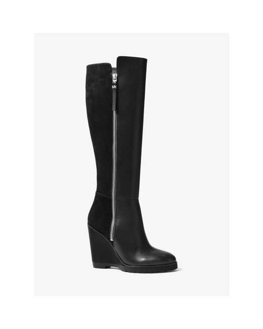 michael kors clara suede wedge boots in black lyst
