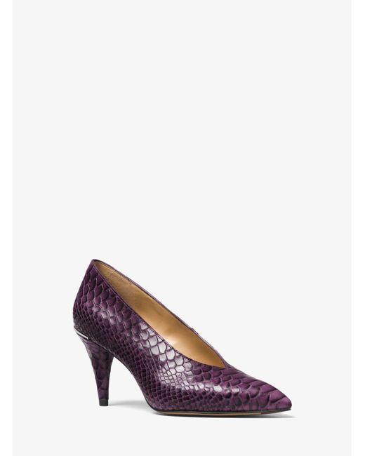 Michael Kors | Purple Lizzy Embossed-leather Choked Pump | Lyst