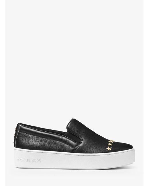 Michael Kors | Black Trent Embellished Leather Slip-on Sneaker | Lyst