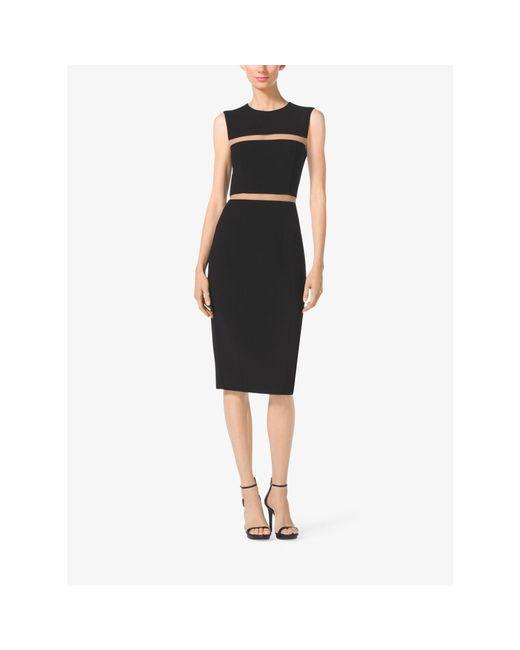 Michael Kors | Black Wool-crepe Sheath Dress | Lyst