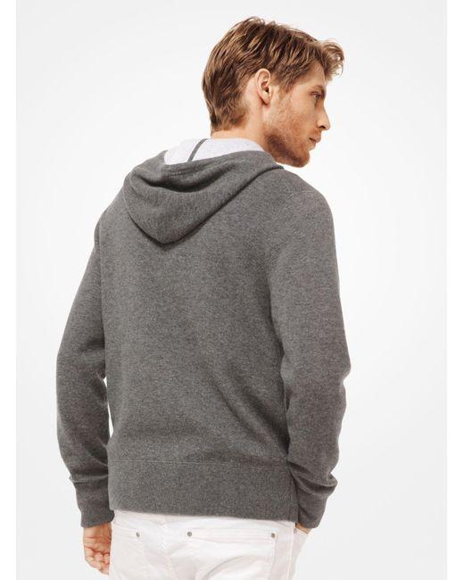 d40c2a61a149f ... Michael Kors - Gray Cashmere-blend Zip-up Hoodie for Men - Lyst