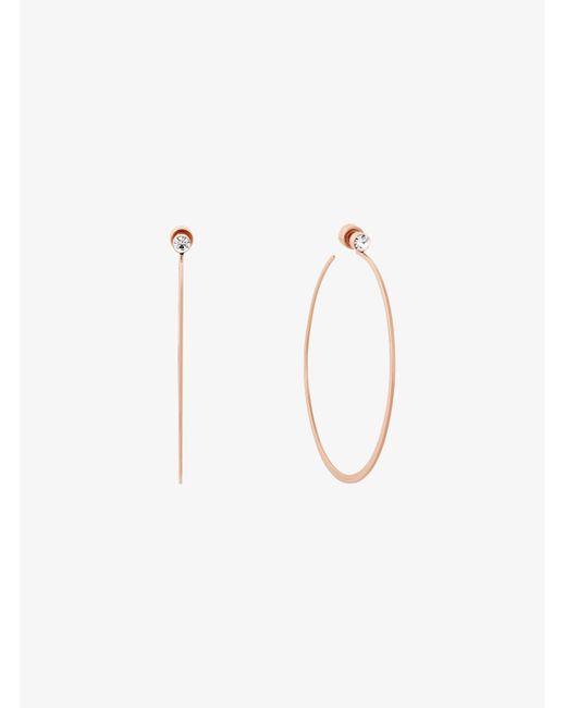 Michael Kors | Metallic Rose Gold-tone Hoop Earrings | Lyst
