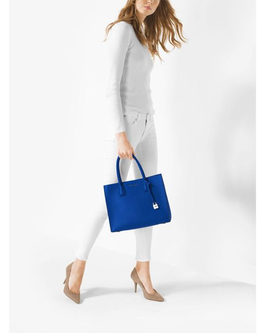 Michael Kors | Blue Mercer Large Leather Tote | Lyst