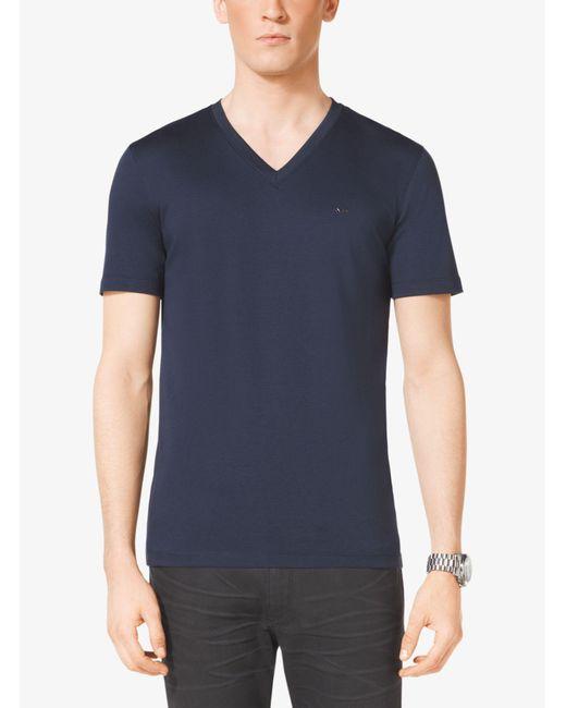 Michael Kors - Blue V-neck Cotton T-shirt for Men - Lyst