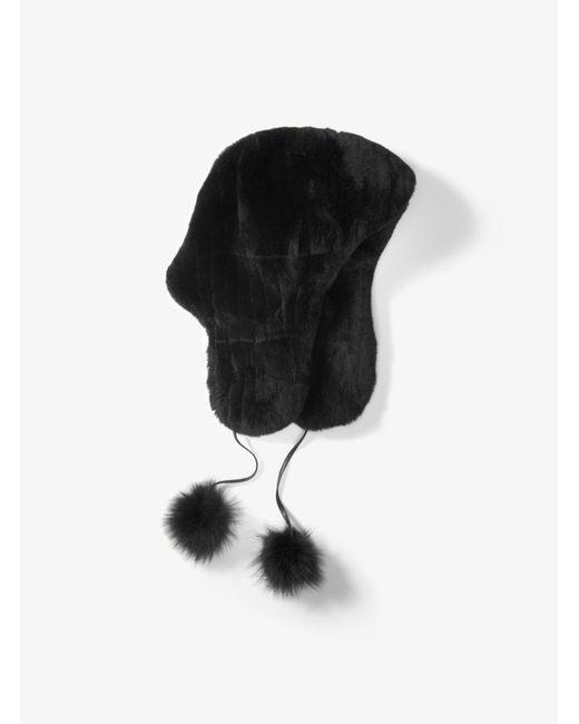 Michael Kors - Black Fur Pom-pom Earflap Hat - Lyst