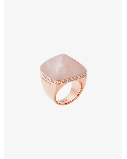 Michael Kors - Pink Rose Gold-tone Pyramid Ring - Lyst