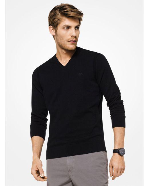 Michael Kors - Black Cotton V-neck Pullover for Men - Lyst