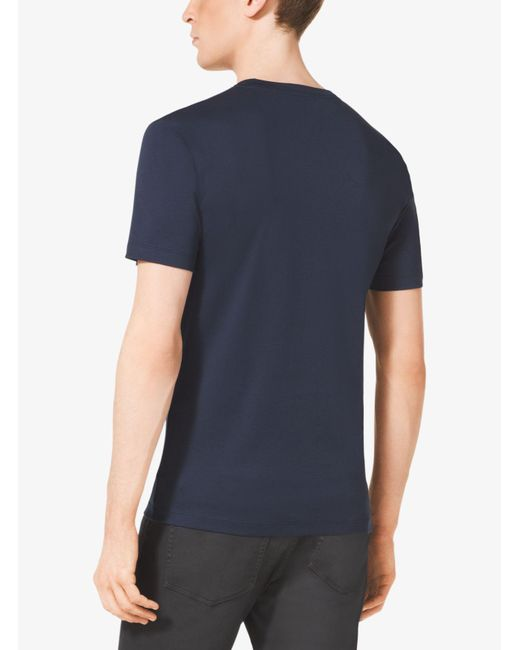 Michael Kors | Blue V-neck Cotton T-shirt for Men | Lyst