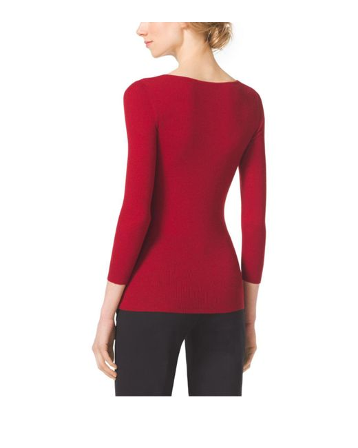 Michael Kors | Red Featherweight Cashmere V-neck Sweater | Lyst