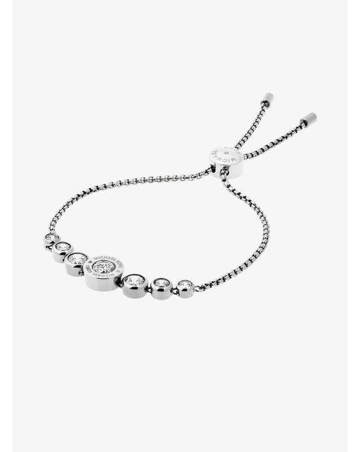 Michael Kors - Brown Cubic Zirconia Silver-tone Slider Bracelet - Lyst