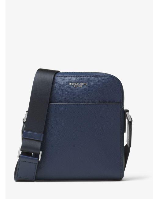 Michael Kors - Blue Harrison Leather Flight Bag for Men - Lyst