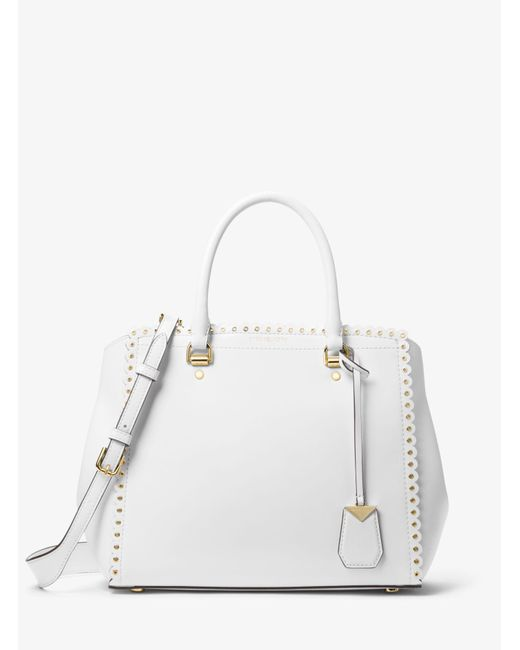 Michael Kors - White Benning Large Scalloped Leather Satchel - Lyst
