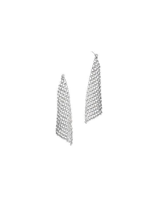 Michael Kors - Metallic Crystal Silver-tone Chain-mesh Earrings - Lyst