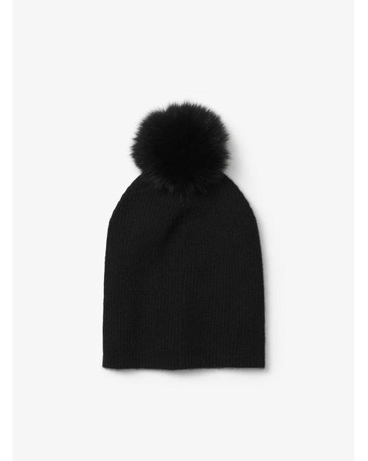 Michael Kors - Black Cashmere And Fur Pom-pom Beanie - Lyst