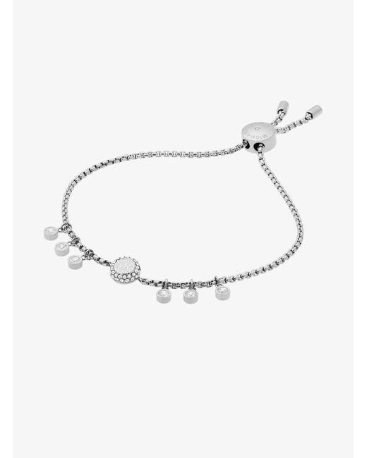 Michael Kors - Metallic Crystal Silver-tone Logo Slider Bracelet - Lyst