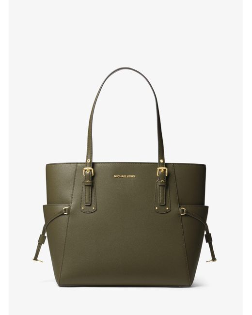 53bfa7eb43d Michael Kors - Green Michael Voyager East West Leather Tote Bag - Lyst ...
